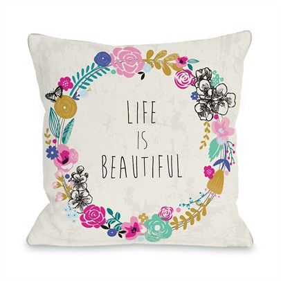 Life is Beautiful Ozsale Tan Multi 16x16 Pillow-73301PL16-Tan-Multi