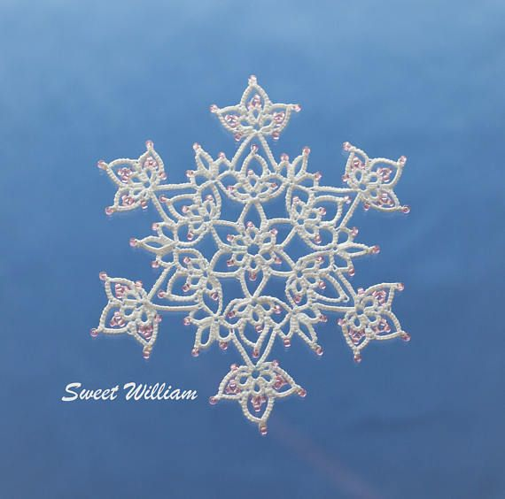 Sweet William tatting pattern PDF tatted in white with beads