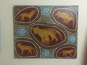 TASMANIAN TIGER DREAMING 60cm X 50cm BY Merv Delaney Port Stephens | eBay