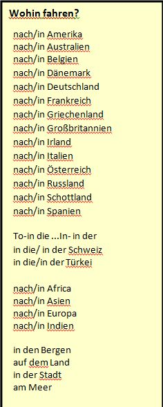 German prepositions. Traveling to somewhere.