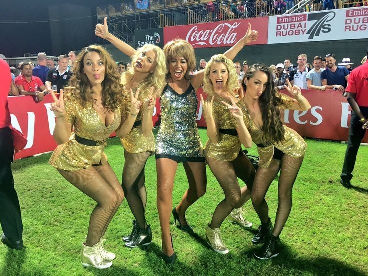 Rebecca O'Connor performs live on the pitch at Dubai Rugby 7's in front of 200 million viewers