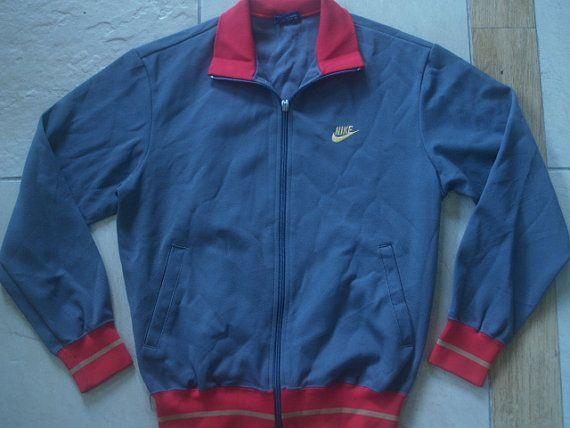 Vintage 80s 90s Nike Japan Tracksuit top Warm Up Track top Zip up Jacket Retro Mens M Medium Rare