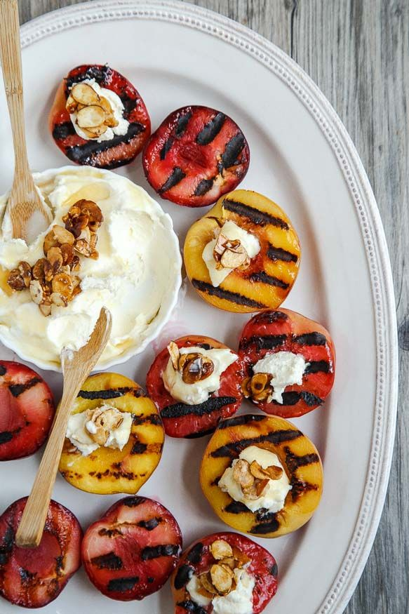 Grilled peaches and plums with almond mascarpone sauce @dessertfortwo