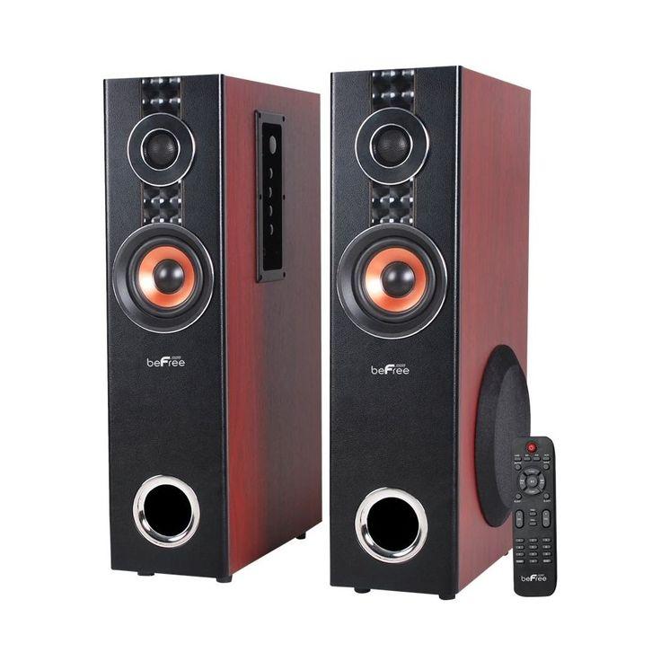 """beFree Sound - 6-1/2"""" Powered 3-Way Floor Speakers (Pair) - Wood"""
