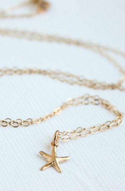 Tiny Gold Starfish Necklace