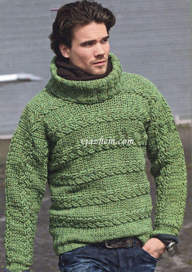 Мужской свитер связанный крючком