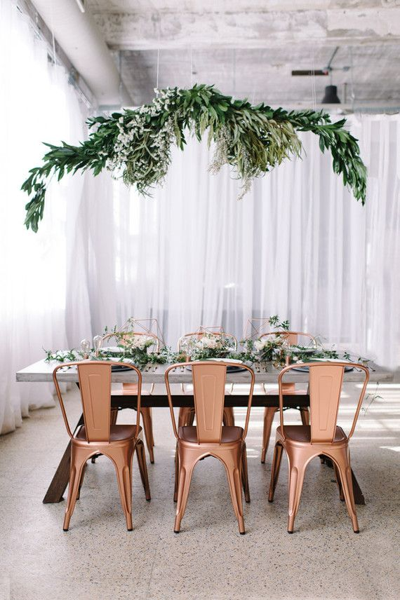 Copper + green industrial modern wedding tablescape - Absolutely love these copper chairs!