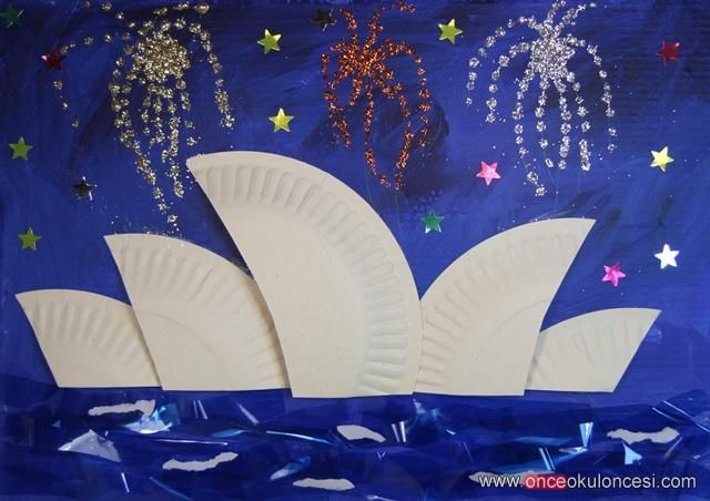 Sidney Opera House from paper plates - Australia art collage idea for children