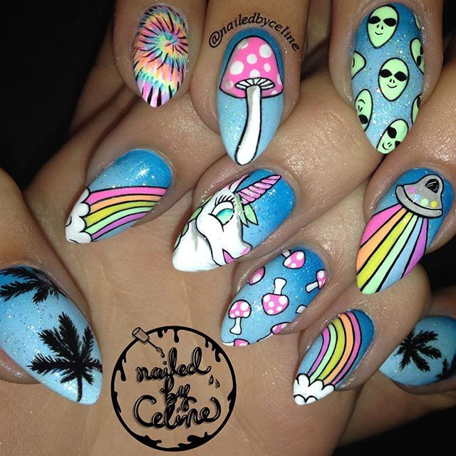 Trippy nails for the beautiful @naniwells- who drove 6 hours (!!!!!) round trip to come get #nailedbyceline today!
