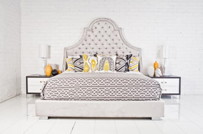 Bel-Air Bed with crystal nailheads.  LOVE the idea of using crystal nailheads!!!