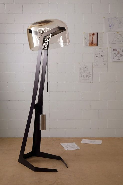 Cordless Reading Lamp Uses Gears, Cogs To Generate Its Own Power: Postfossil Lamps, Kinetic Lights, Trav'Lin Lights, Cordless Reading, Power Lamps, Floors Lamps, Cordless Kinetic, Reading Lamps, Grandfather Clocks