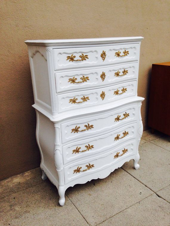 French Provincial Tallboy Dresser Or Tall Chest Of Drawers