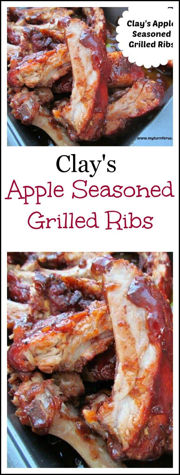 Apple Seasoned Grilled Ribs loaded with sauce!  http://www.myturnforus.com/2014/05/clays-apple-seasoned-grilled-ribs.html