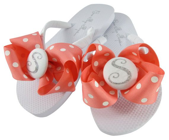 Coral Polka Glitter Wedding Flip Flops all colors by BowFlipFlops