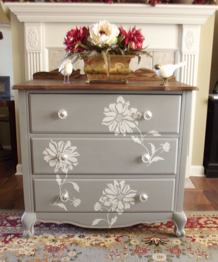 Flower Stencil With Homemade Chalk Paint Dresser Ideasdresser