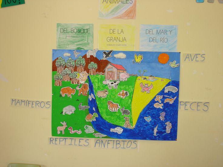 Mural clasificación de animales vertebrados de granja, mar, río y bosque. 1º Y 2º EP