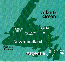 Argentia Newfoundland (map of Newfoundland)