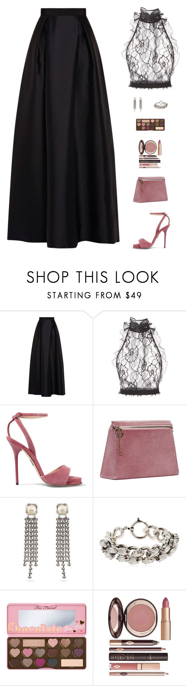 """""""Untitled #5202"""" by mdmsb ❤ liked on Polyvore featuring Alberta Ferretti, Oscar de la Renta, Paul Andrew, Cafuné, Isabel Marant, Too Faced Cosmetics and Charlotte Tilbury"""