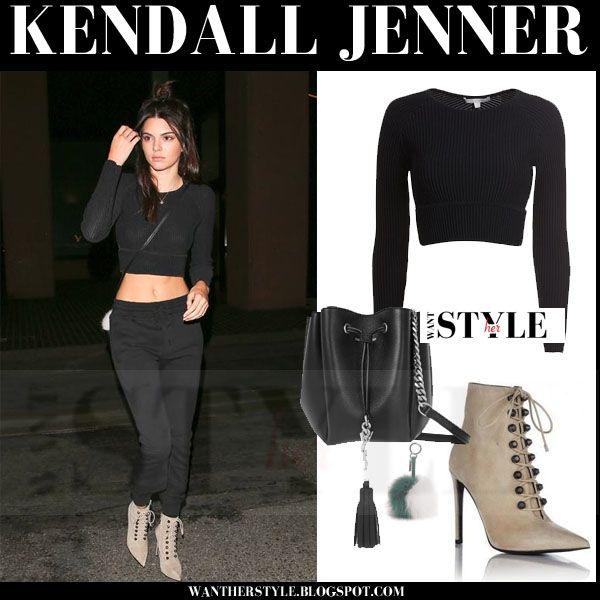 Kendall Jenner In Black Crop Top Black Pants Beige Suede Ankle Boots Kendalljenner