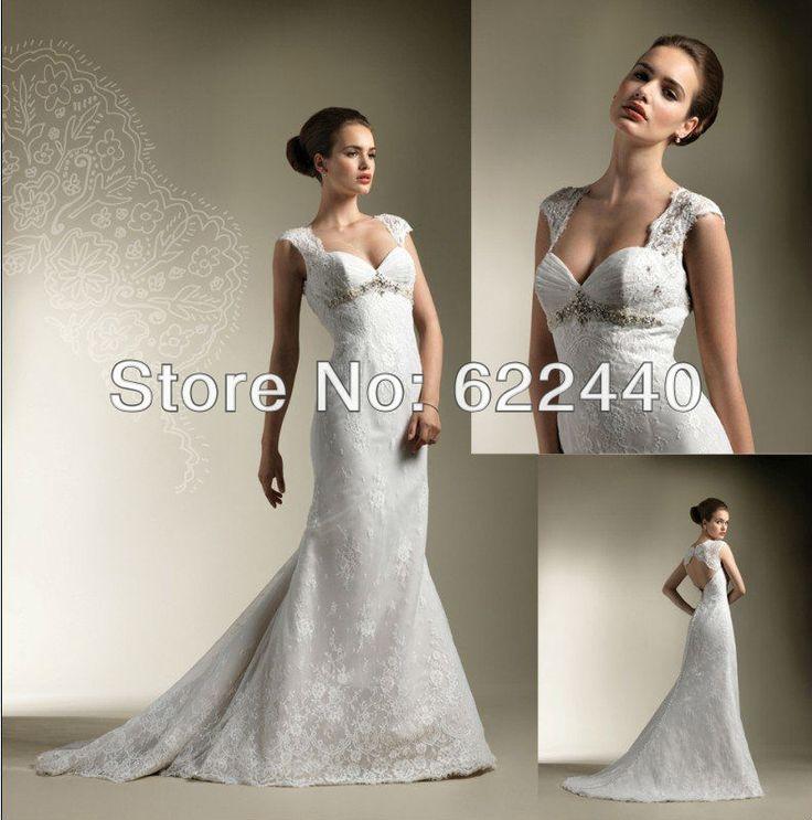 С открытой спиной кружева аппликация русалка свадебные платья свадебное платье v-образным вырезом свадебное платье бисера платье невесты