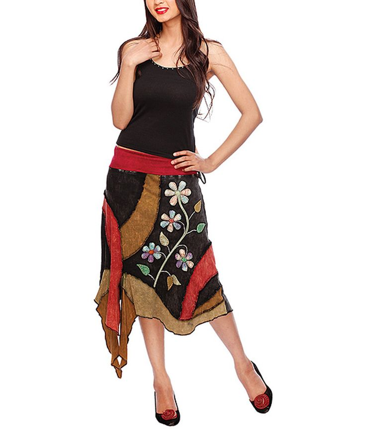 Look at this Rising International Black & Brown Floral Handkerchief Skirt on #zulily today!