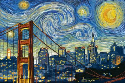 San Francisco, California - Skyline - Van Gogh Starry Night - Lantern Press…