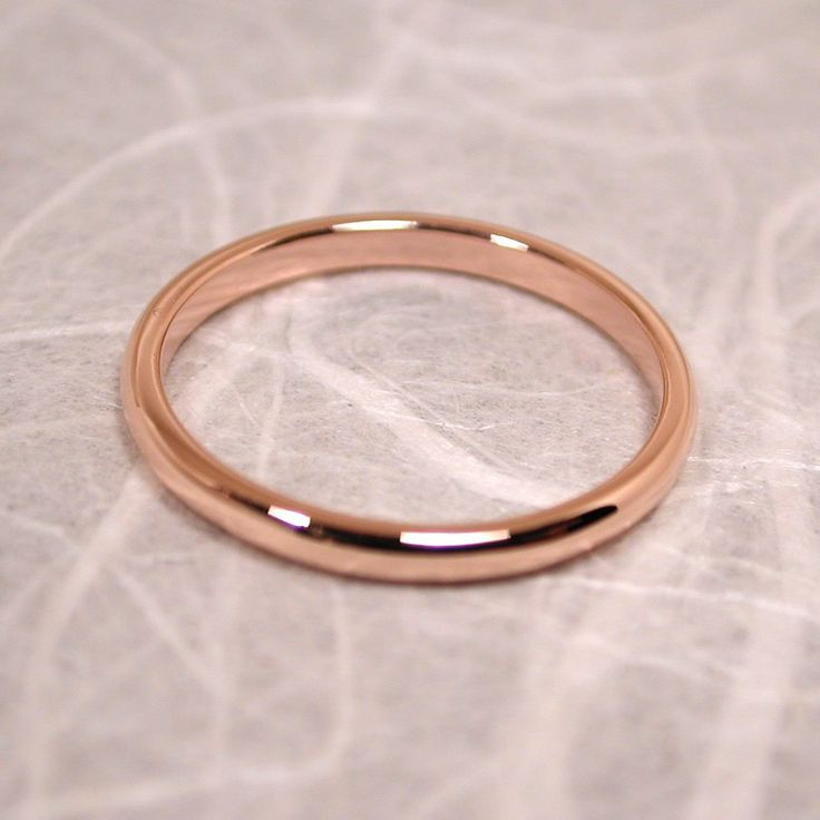 14k Solid Rose Gold Band Size 6 Modern Romantic Pink Ring Wedding By Susan Sarantos