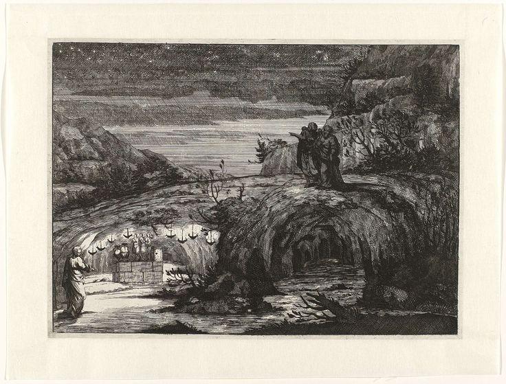 Anonymous   Nachtelijk landschap met figuren in toga bij antiek heiligdom, Anonymous, c. 1600 - c. 1650   Rotsachtig landschap met twee grotten op de voorgrond. Links is een grot met een altaar met drie beelden dat helder verlicht wordt door acht hangende olielampen. Links loopt een man in de richting van deze grot. De rechtergrot is verduisterd. Bovenop deze ruimte staan twee mannen waarvan er één naar iets wijst in de verte. De lucht is bezaaid met sterren.