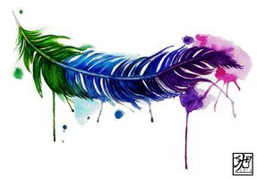 Watercolor Feather Tattoo by ~EverIris on deviantART