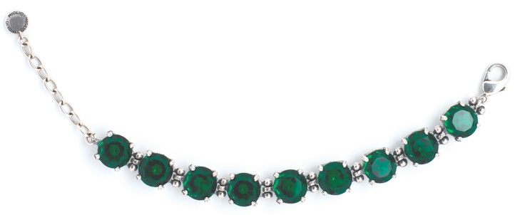 Our dazzling crystal bracelet with a row of stunning Emerald stones shows why this is the colour of the moment.