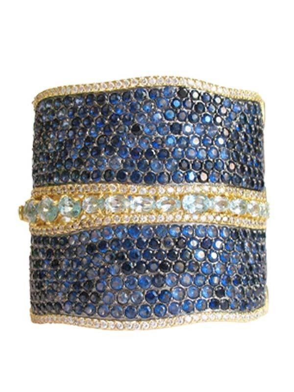 Yellow and oxidized gold plated faux sapphire, aquamarine and diamond pava hinge cuff jennifermillerjewerly.com #bracelet #cuff #fashion