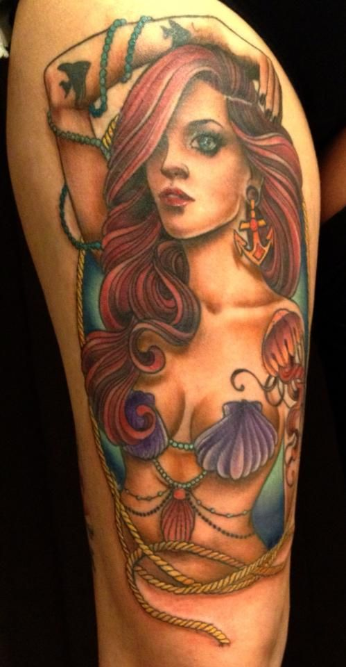 If I was brave enough to get a half sleeve like I want, I would so get this! Always wanted a mermaid and pin up girl- this is it rolled into one!