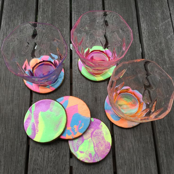 Surprise Marble Coasters using air drying clay Clay