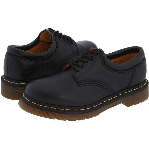 Dr. Martens 8053 ($115) ❤ liked on Polyvore featuring shoes, boots, oxfords, black nappa leather, kohl shoes, black low heel shoes, oxford lace up shoes, black lace up shoes and slip resistant shoes