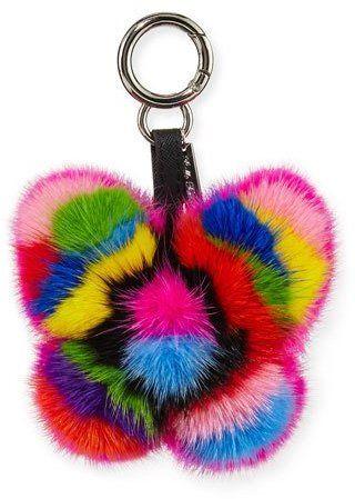 Belle Fare Mink Fur Rainbow Butterfly Bag Charm, Multicolor