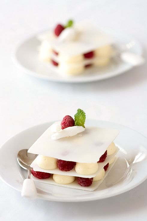 White Chocolate, Vanilla Bean Cardamom Mousse and Raspberry Layers Recipe:
