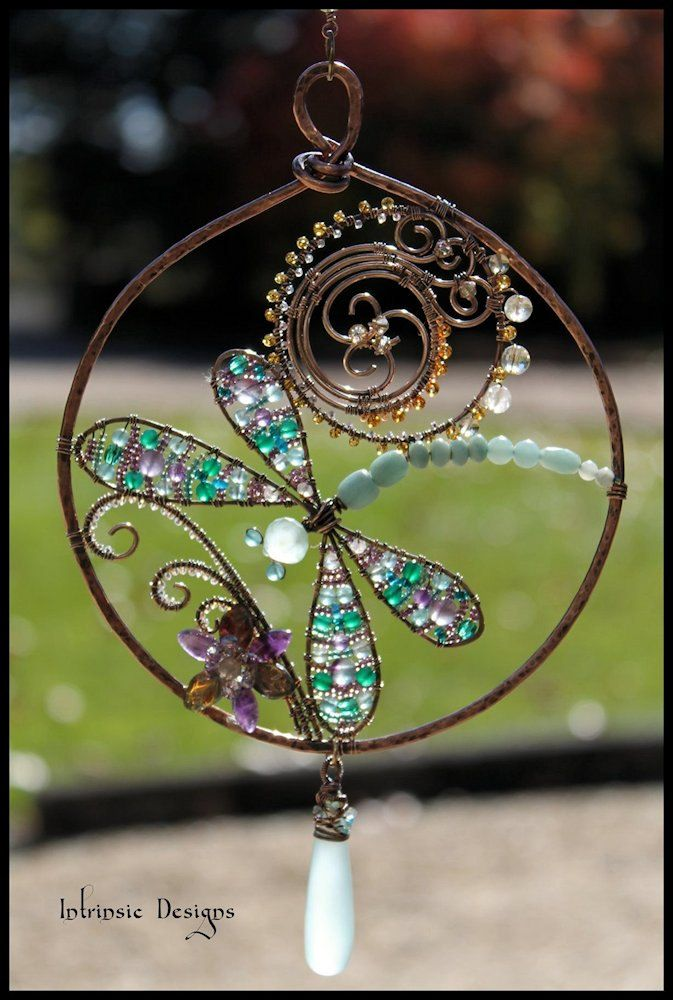 Multi Gemstone and Wire Dragonfly Suncatcher with Sea Foam Chalcedony Drop. $65.00, via Etsy.