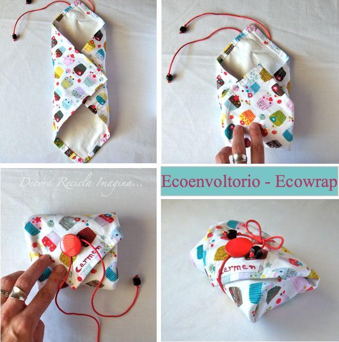 Decora Recicla Imagina …: Ecoenvoltorio - Ecowrap    Per avvolgere un panino, carino!