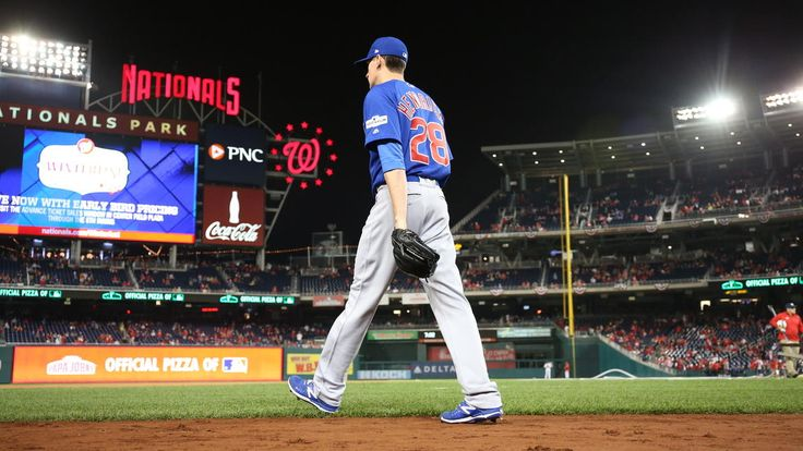 October 12, 2017:  NLDS Game 5: Cubs-Nationals -   the Cubs advanced to the National League Championship Series with a thrilling 9-8 victory over the Nationals in Game 5 of the NLDS.   Cubs starting pitcher Kyle Hendricks heads out of the dugout to warm up.