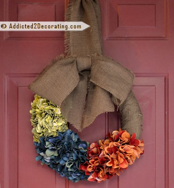 DIY: Super Simple Color Block Fall Hydrangea Wreath