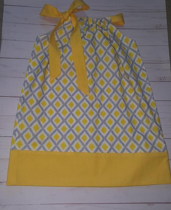 Toddler dress, girls dress, summer dress, babys dress, baby dress, yellow and gray dress, pillowcase