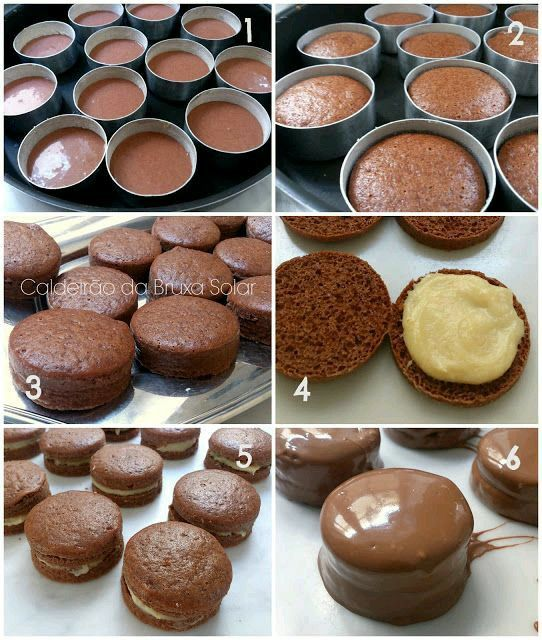 Maracons com cobertura de chocolate