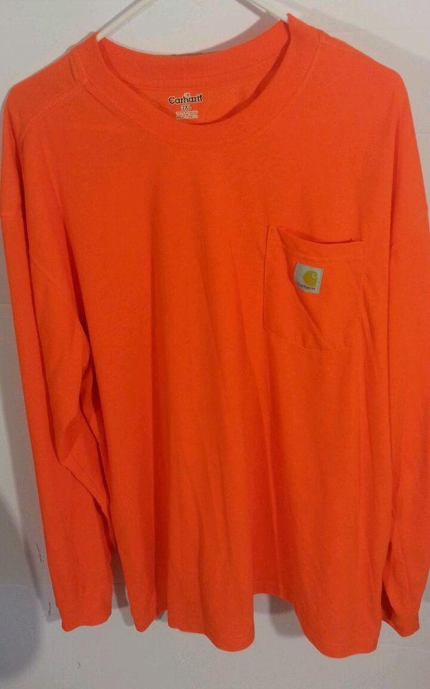 Mens Carhartt Shirt 2xl Long Sleeve Orange Pullover #Carhartt #Pullover
