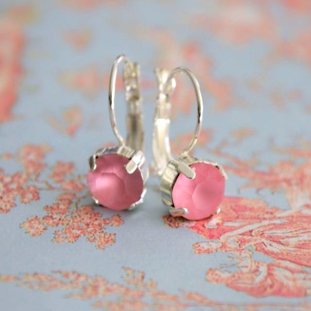 Matt Rose Pink Swarovski Earrings on Carousell