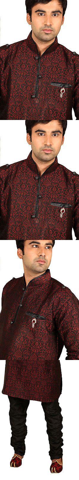 Kurta 155248: Stylish Maroon Silk Indian Kurta Pajama Sherwani For Men -> BUY IT NOW ONLY: $199 on eBay!