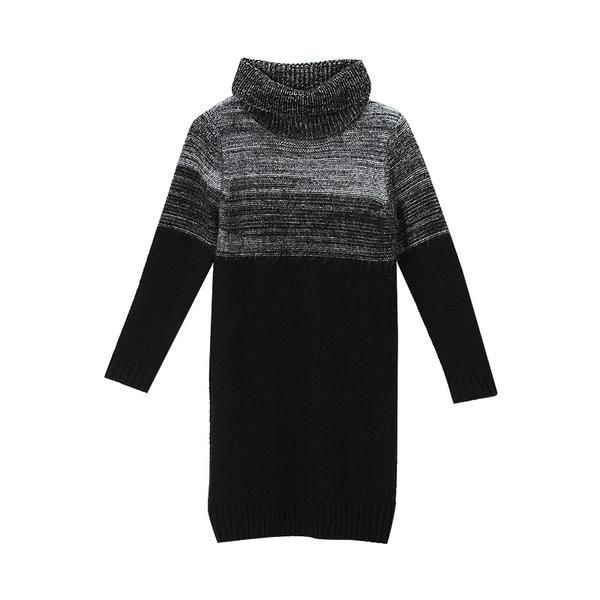 the static gradient sweater dressneckline/collar: turtleneck sleeves: long sleeves fit: loose clothing length: above knee material: knitted acrylic package content/s: 1x sweater dress minimalist fashion