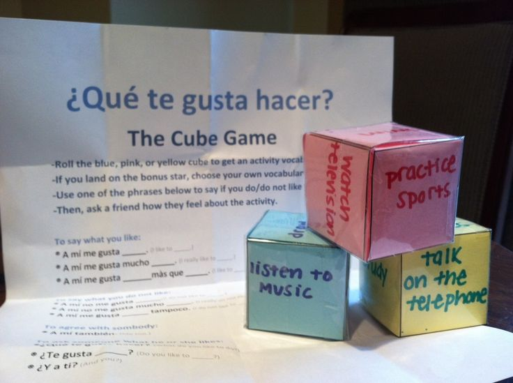 Teaching Spanish Vocabulary with The Cube Game. Students roll a cube to get a vocabulary word. The accompanying worksheet has useful Spanish phrases that can be used with the vocabulary.