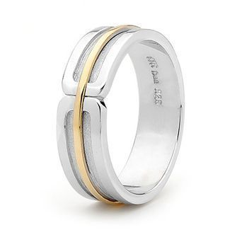Sterling Silver and 9 Carat Gold Mens Ring - Size S - BEE-35357S