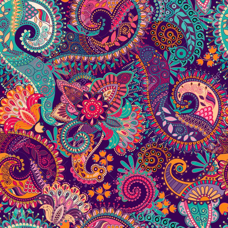 45889865 paisley seamless pattern floral wallpaper fantasy for Ecran graphisme
