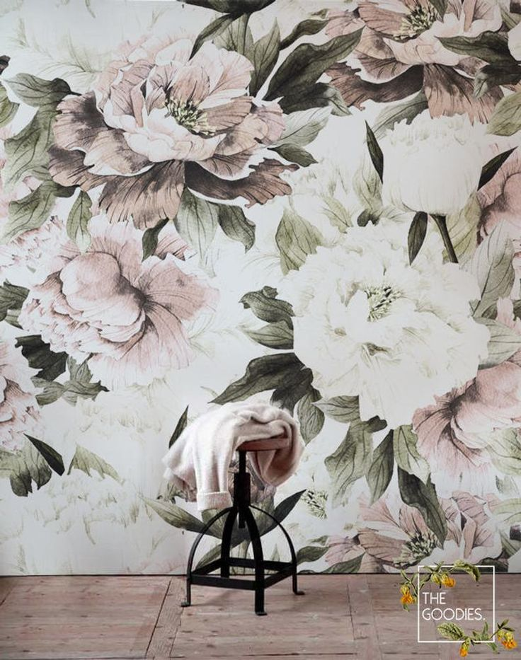Dusty peony floral wallpaper Removable Blush flowers